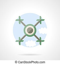 Quadrotor flat color vector icon - Round flat color vector...