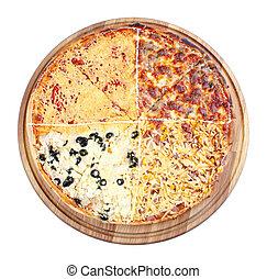 quadruple topping family pizza on the wooden desk