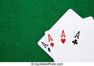 quads, ruimte, tekst, casino, groen tafel