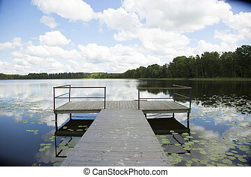 quai bois, dans, lac