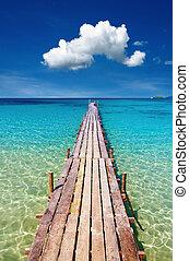 quai bois, kood, île, thaïlande