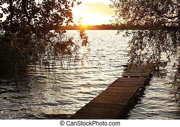 quai bois, vieux, lac