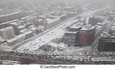 quai, hiver, koltso, maisons, rue, trafic, sadovoye, moscou