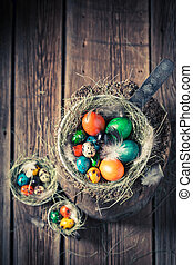Quail and hen eggs for Easter with hay and feathers