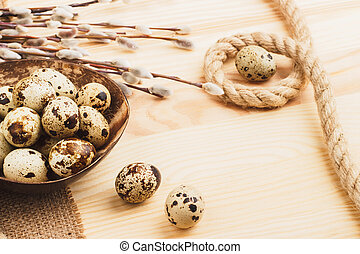 Quail Easter eggs in the bowl