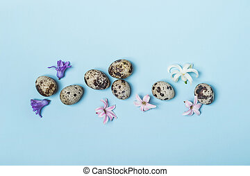 Quail eggs and hyacinth flowers on a blue background. Easter concept