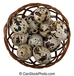 quail eggs in a basket isolated on white background