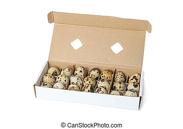Quail eggs in carton box isolated on white background