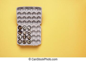 quail eggs in carton box on yellow background