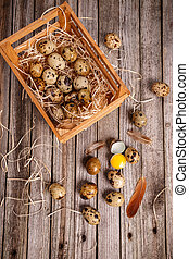Quail eggs in crate