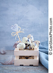 Quail eggs in the wooden box with feathers on the rustic background. Easter spring postcard concept.