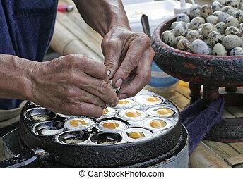 thailand - quail eggs on the street thailand