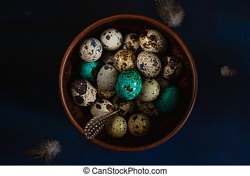 Quail eggs, some colored teal, feathers in bowl on dark blue background. Dark and moody Easter card