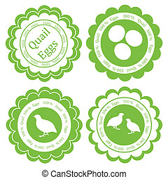 Quail eggs vector background label stamp green farm concept