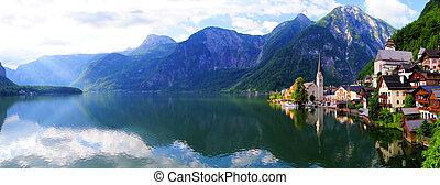 Quaint Austrian village - Hallstatt, Austria panoramic view...