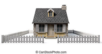 Quaint Cottage House With Garden And Picket Fence - A quaint...