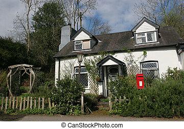 Quaint Cottage - Old quaint white cottage with leaded...