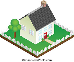 Quaint house with picket fence isometric view