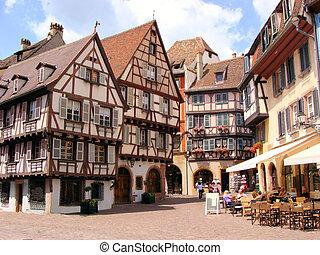 Quaint houses of Colmar - Picturesque square in the Alsatian...