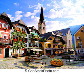 Austrian village - Quaint square in the Austrian village of...