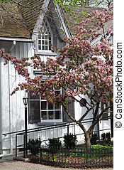 Quaint Victorian house in the spring