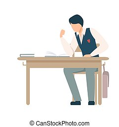 qualcuno, lezione, pronto, vettore, ragazzo, durante, illustrazione, scrivania scolastica, lotta, seduta