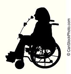 qualcuno, rosa, carrozzella, invalido, persona, attesa, odorando
