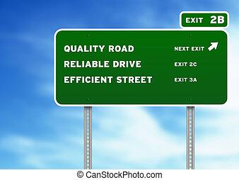 qualidade, confiança, eficiente, sinal rodovia