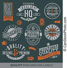 qualidade, e, guaranteed, etiquetas