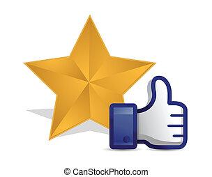 qualidade, estrela, revisão, polegar cima