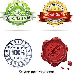 qualidade, etiquetas, e, selos