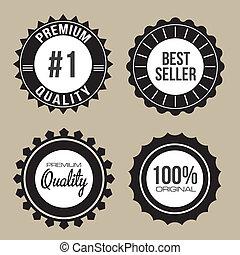 qualidade, etiquetas, prêmio