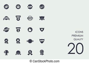qualidade, jogo, prêmio, ícones
