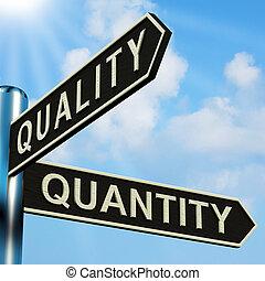 qualidade, ou, quantidade, direções, ligado, um, signpost