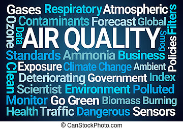 qualidade, palavra, nuvem, ar