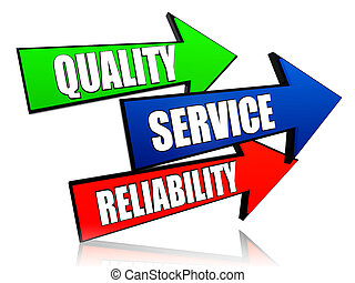 qualidade, serviço, fiabilidade, em, setas