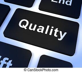 qualidade, tecla, representando, excelente, serviço, ou, produtos