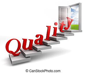 qualidade, vermelho, palavra, escada cima, para, porta