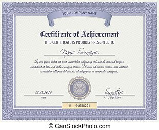 Qualification certificate blank template with elegant swirls ornament vector illustration