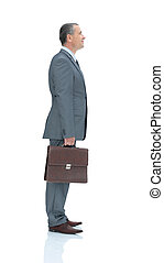 qualified lawyer in a business suit with a briefcase isolated on