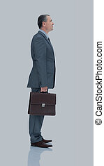 qualified lawyer in a business suit with  briefcase isolated on