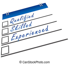 A checklist image with qualified, skilled and experienced text