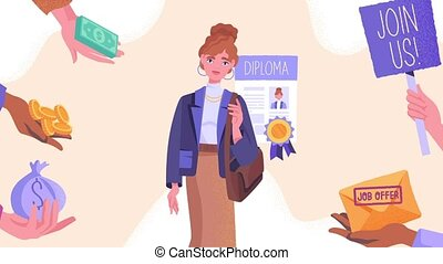 Qualified specialist concept. Moving smart employee with diploma of education. Invitation to work from competitors. Sought after profession. Hand with money. Animated cartoon in high resolution