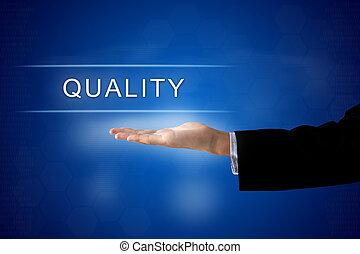 qualità, bottone, su, virtuale, schermo