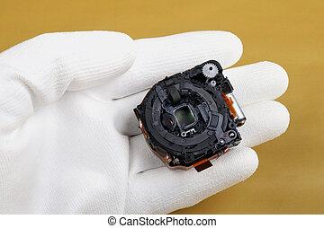 qualità, controlli, macchina fotografica foto, tecnico, moderno, lente