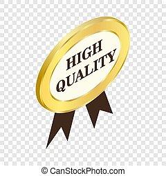 qualità, icona, alto, isometrico, etichetta