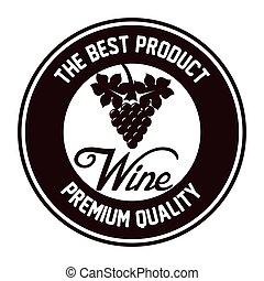 qualità, icona, isolato, sigillo, disegno, vino