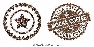 qualità, mocha, sigillo, collage, francobollo, caffè, textured