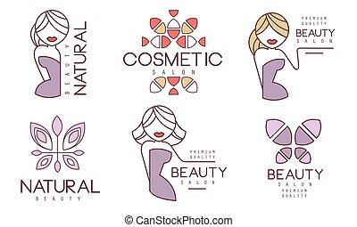 qualità, naturale, illustrazione, bellezza, etichette, tesserati magnetici, vettore, organico, cosmetico, premio, salone, cosmetica, set