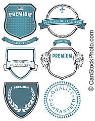 qualità, simbolo, set, premio